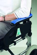 Dycem Non-Slip reel material on arm rests prevents slipping & injury.