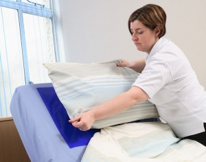 Dycem reel material keeps pillows from slipping.