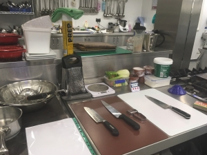With a Dycem mat under the chopping board & a jar opener at hand the chefs are more than perpared!